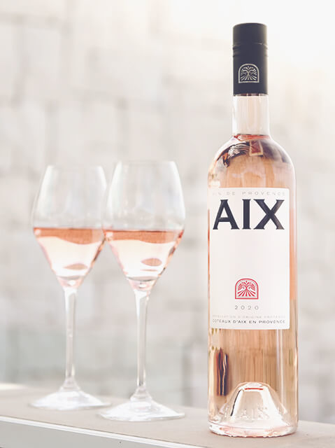 AIX Rose bottle and glasses