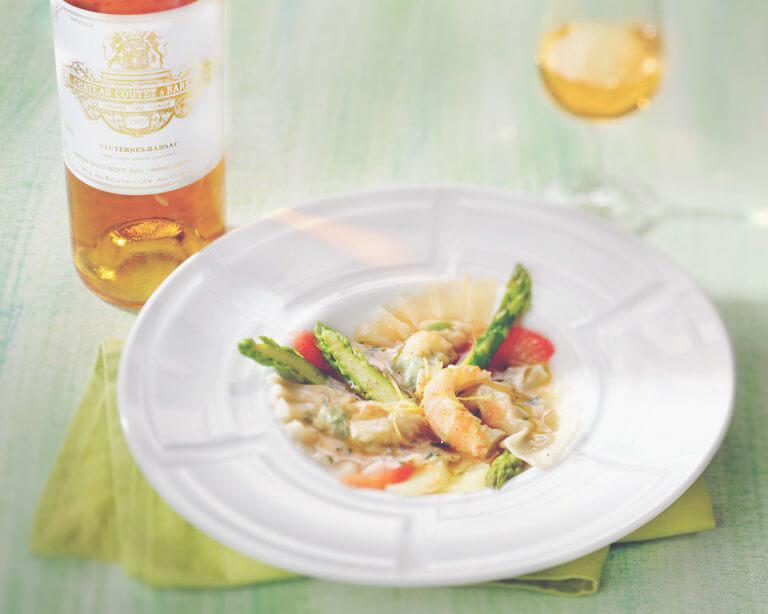 Langoustine & Asparagus Ravioli with a Sauternes Sauce