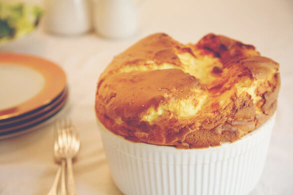 Twice-Baked Blue Cheese Souffles with Quince Compote
